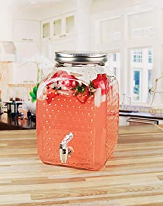 Circleware Hobnail Glass Beverage Dispenser with Spigot, Fun Party Home Entertainment Glassware Water Pitcher for Juice, Beer, Punch, Iced Cold Drinks, 1.6 Gallons, Square Bottom