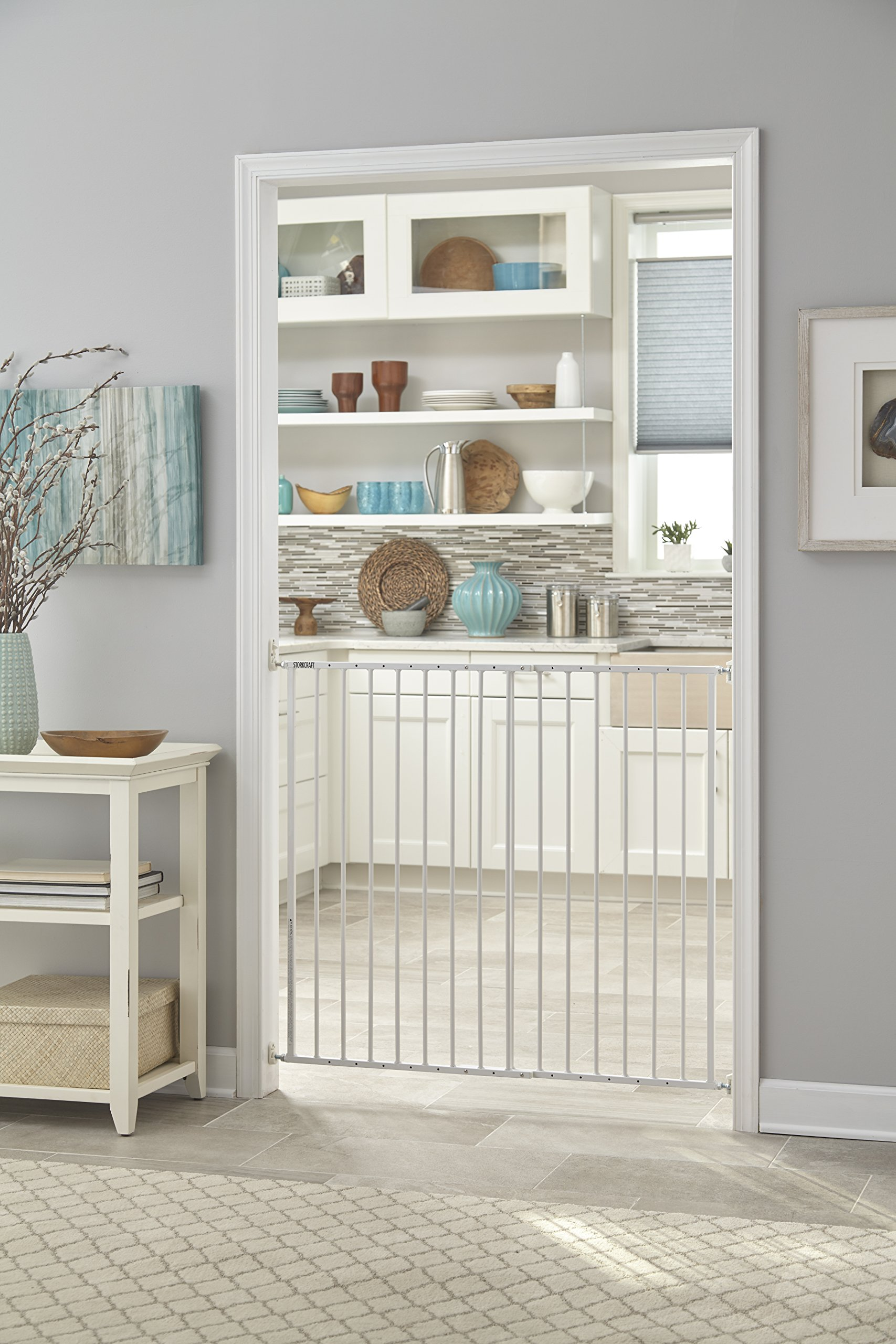 Storkcraft Easy Walk-Thru Tall Metal Safety Gate, White Adjustable Baby Safety Gate For Doorways and Stairs, Great for Children and Pets by Stork Craft (Image #7)