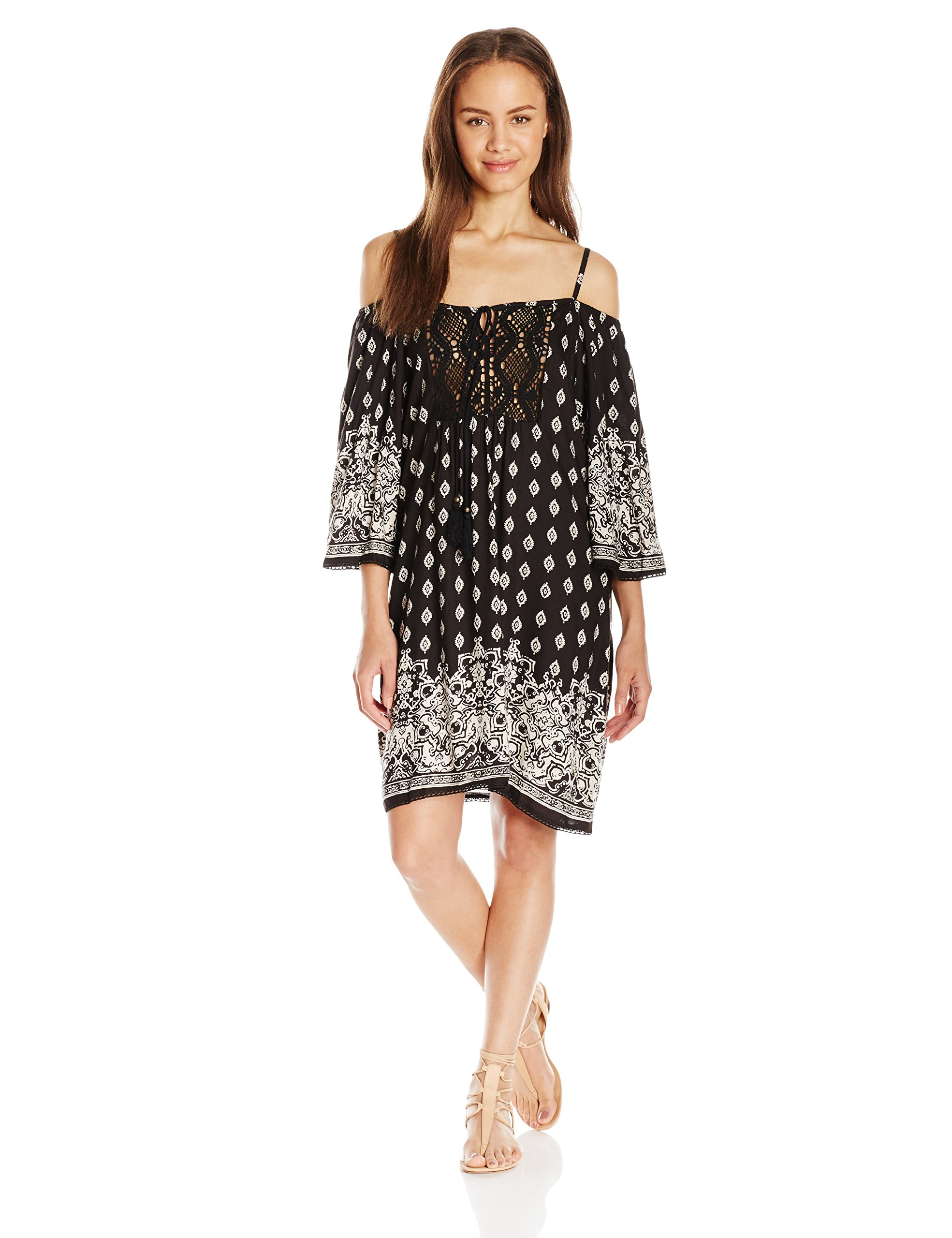 Angie Women's Cold Shoulder Printed Dress, Black, Large