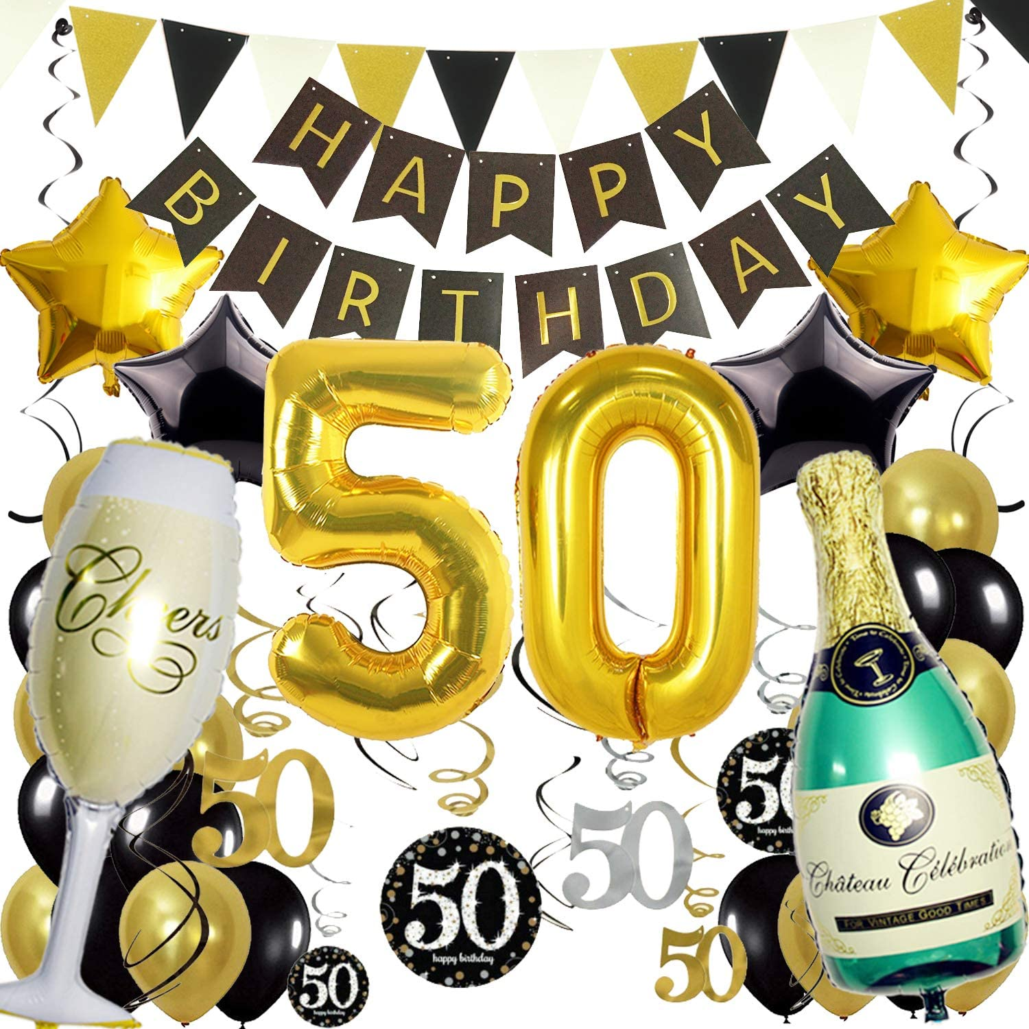 ZERODECO Birthday Decorations, Black and Gold Happy Birthday Banner 50th Gold Number Balloons Star Bottle Champagne Foil Balloons Triangular Garland Hanging Swirls for 50th Years Old Party Supplies