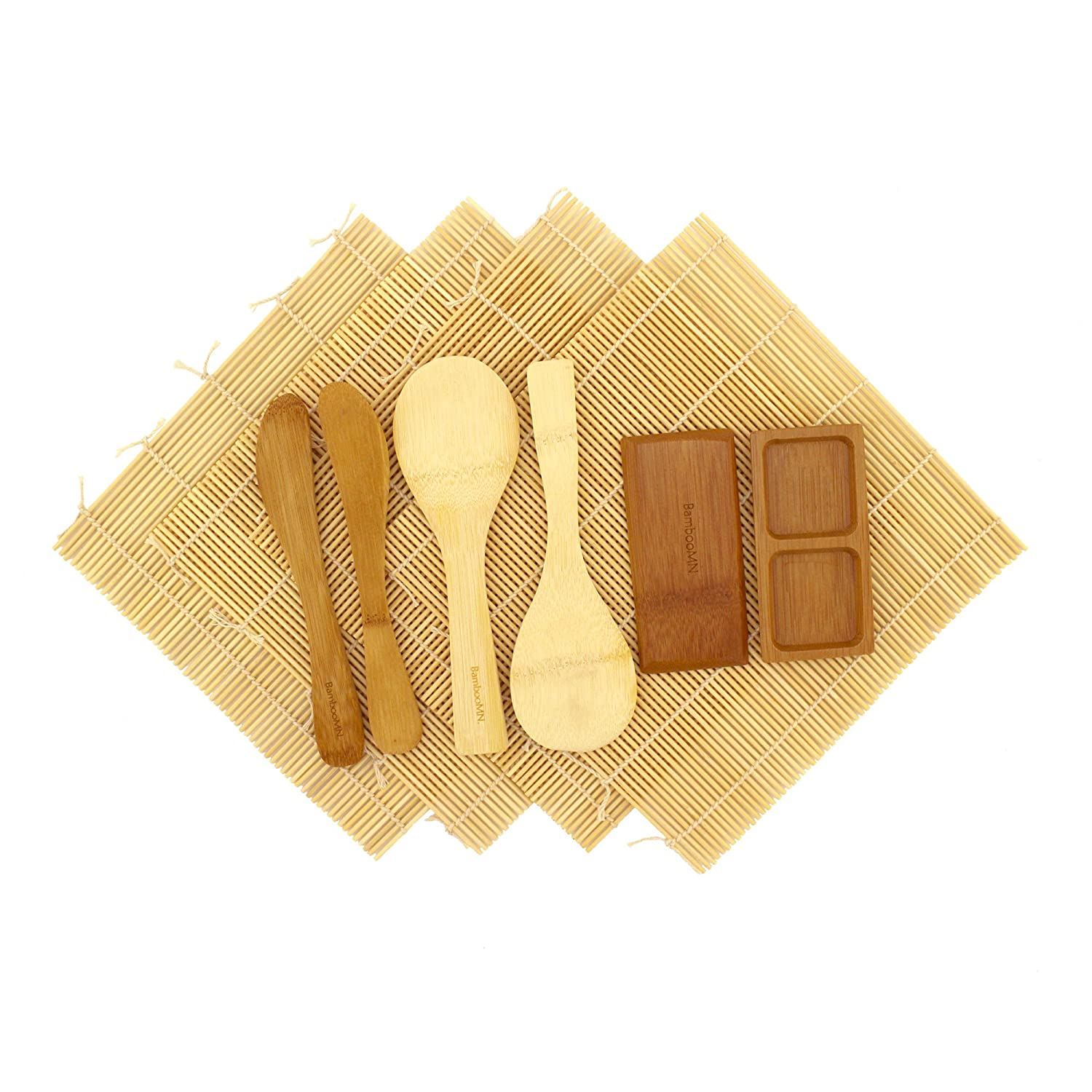100/% Bamboo Mats and Utensils BambooMN Deluxe Sushi Maker Kit 2 SETS of 2x Rolling Mats 1x Compartment Sauce Dish 1x Spreader 1x Rice Paddle