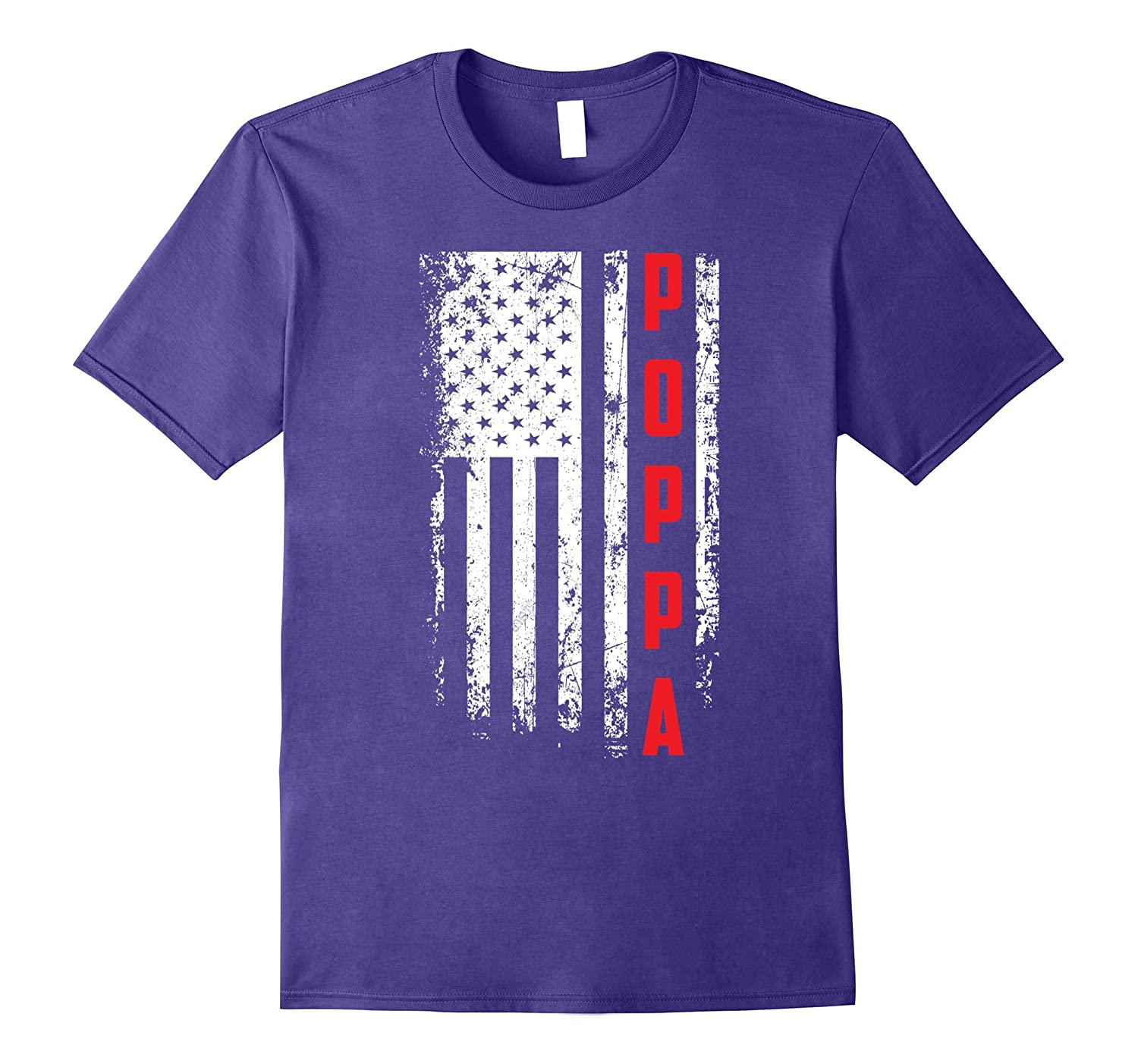 Fathers Day Gift American Red Poppa flag t-shirt-Vaci