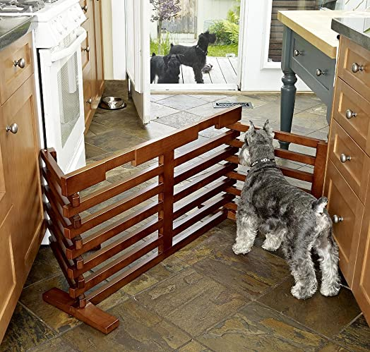72-inch Extra Wide Fit Hands Free Hardwood Dog Gate with Walnut-stained Finish