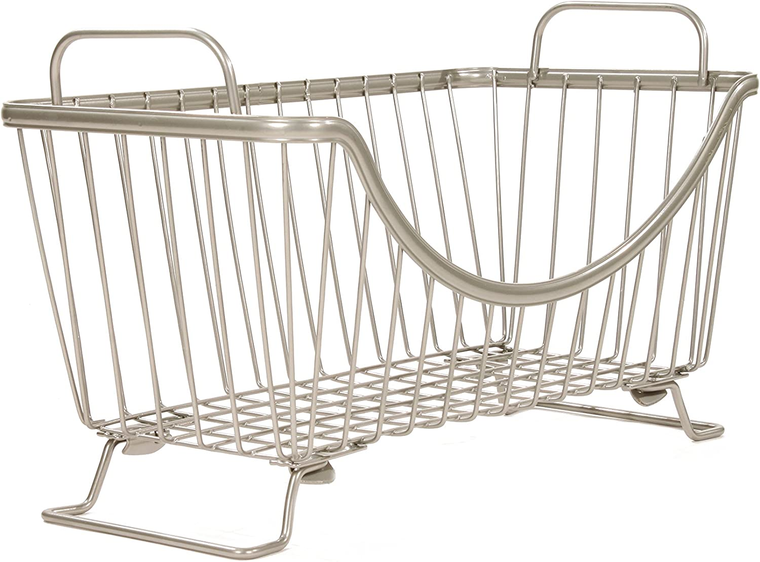 Spectrum Diversified Ashley Stackable Wire Basket With Raised Feet and Looped Handles, Modular Stacking Bin System for Kitchen Countertop & Desk Organization, Small