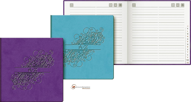 Adressbuch Floral violett ca. 13, 5x13, 5cm Softeinband A-Z Register Brunnen