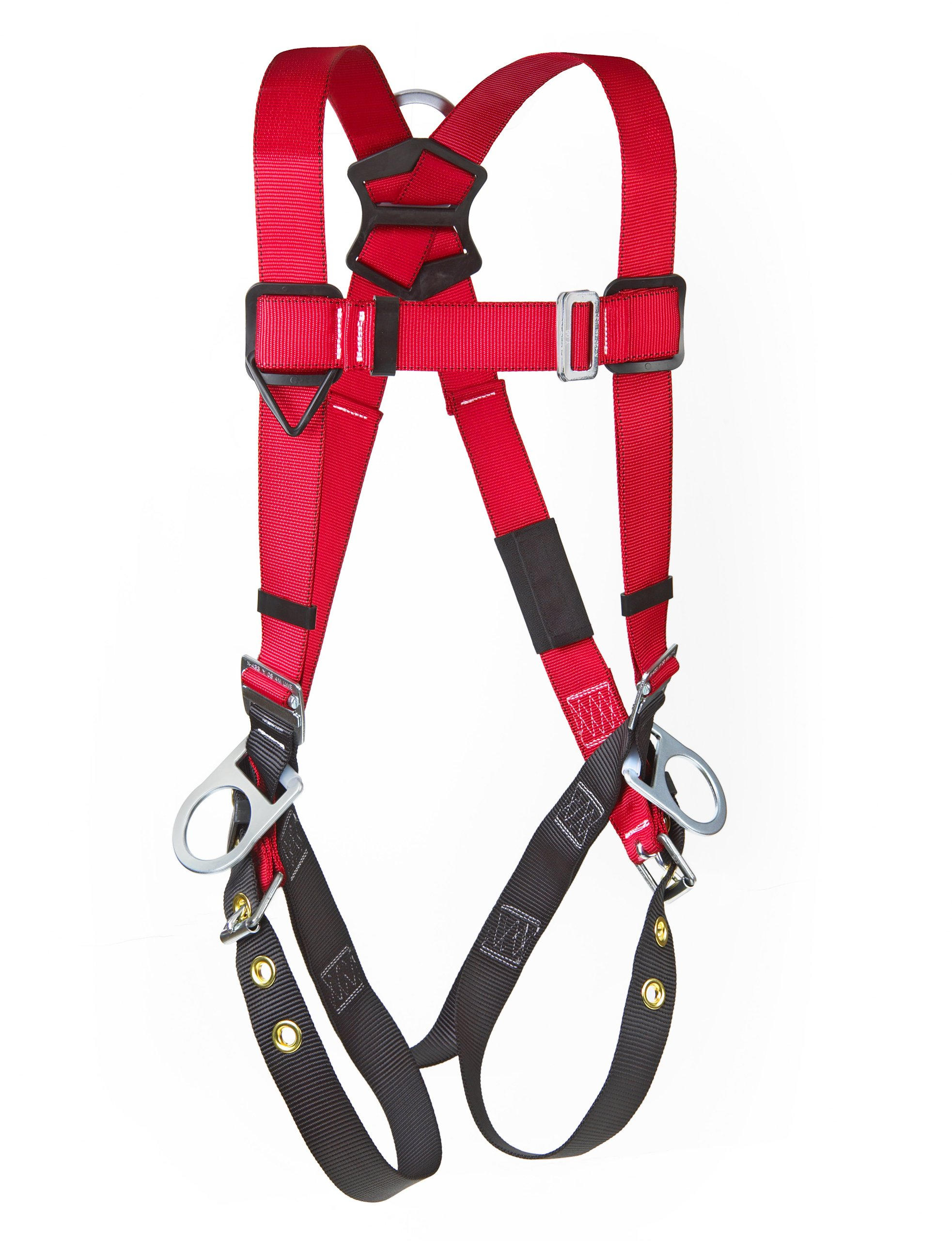 3M Protecta PRO 1191246 Fall Protection Full Body Harness, Back and Side D-Rings, Tongue Buckle Legs, 420  lb. Capacity, Medium/Large, Red/Black,