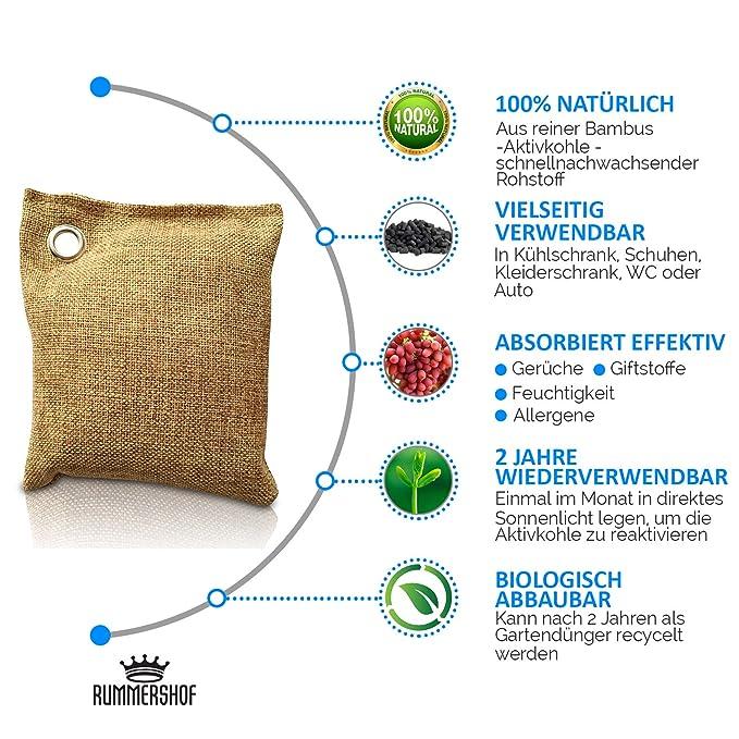 Ambientador de bambú con carbón activo | Filtro de aire para el hogar, coche, cocina, zapatos, refrigerador, baño... | Libre de emisiones | 100% ...
