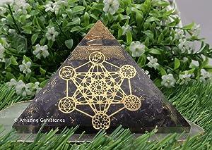 Amazing Gemstone Amethyst Orgone Pyramid for EMF and Negative Energy Protection - Natural Amethyst Crystal Pyramid (Metatron Cube - 7 Chakra)