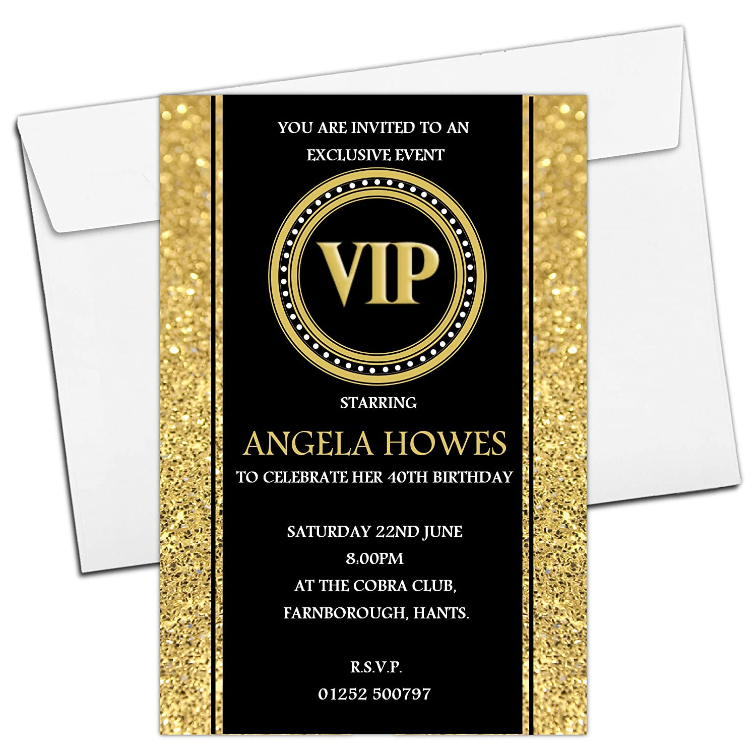 10 Personalised 18th 21st 30th 40th 50th 60th VIP Adult Birthday Party Invitations N190 - ANY AGE The Personalised Party Co.