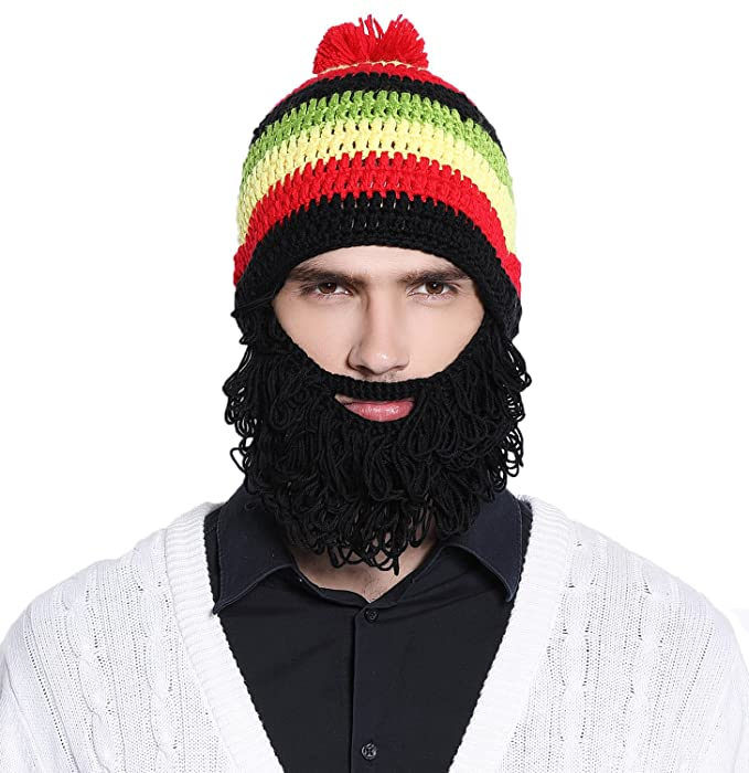 Image Unavailable. Image not available for. Colour  Men s Young Boy s Kint Bearded  Face Mask Beanie Removable Beard Hat Cap ... dd80b5b3aca9