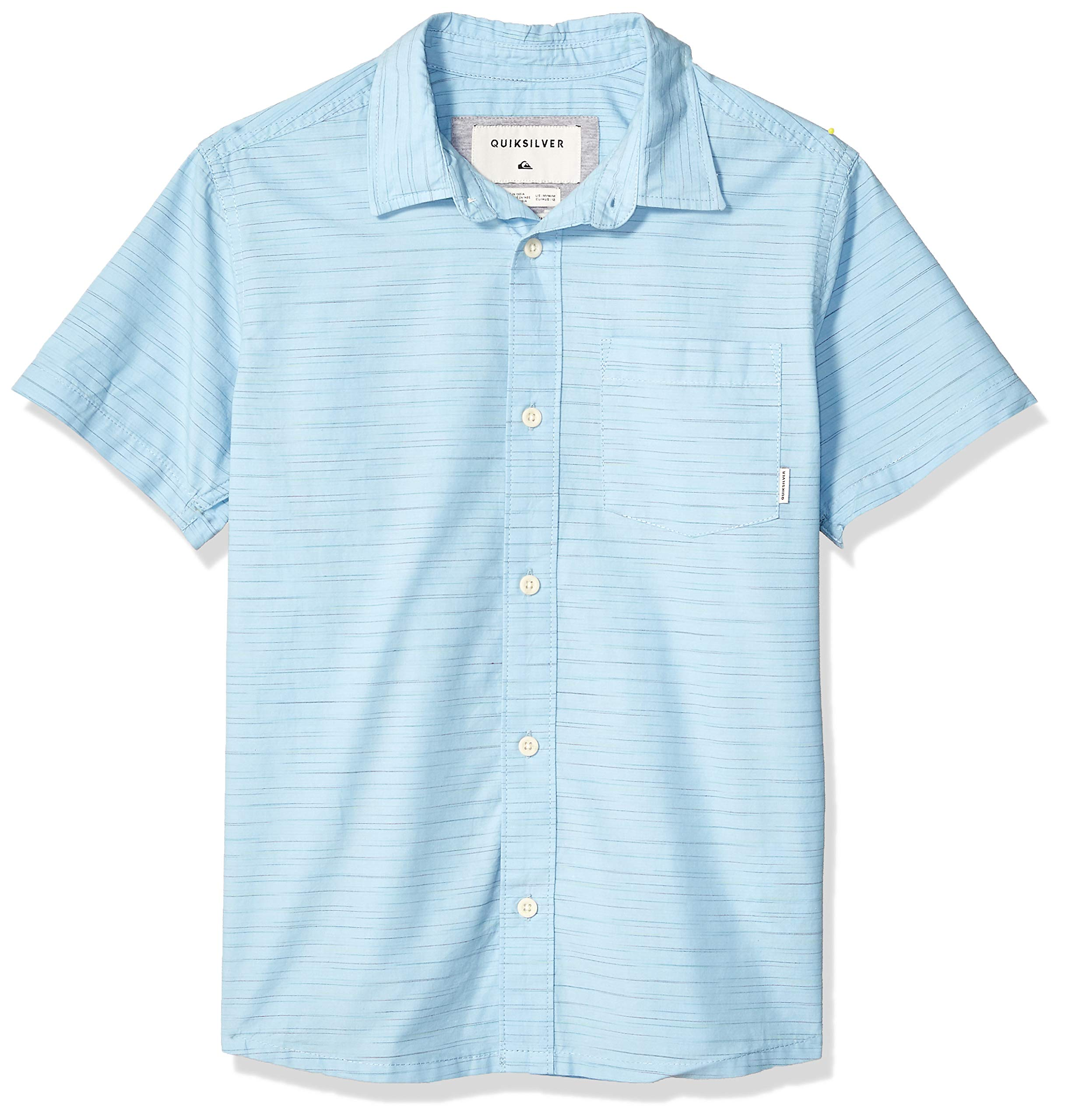 Quiksilver Boys' Big COOBER Croc Short Sleeve Youth Woven TOP, AIRY Blue, XL/16