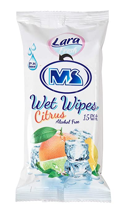 by Lara Pocket Wet Wipes 15 pcs 225 Wipes Alcohol Free in Bulk MS International Investment Ltd Melon Pack of 15