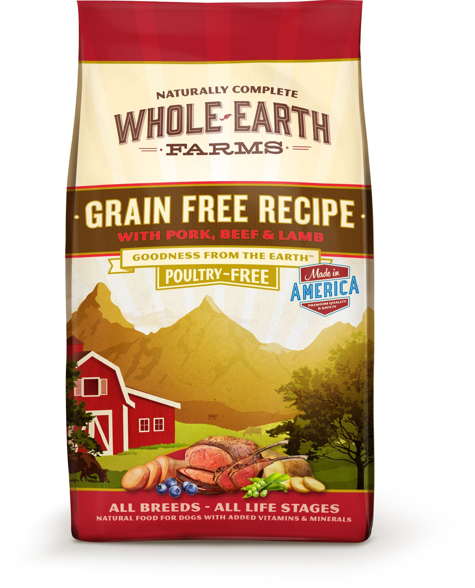 Whole Earth Farms Grain Free Recipe Dry Dog Food Pork, Beef & Lamb 12-Pound