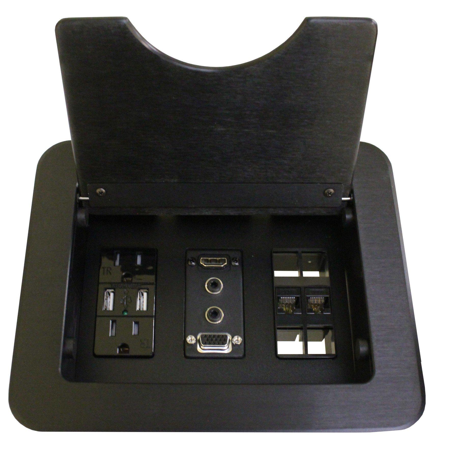 Altinex CNK210 Cable Nook w/ Power, USB Charging, HDMI, VGA, Cat6