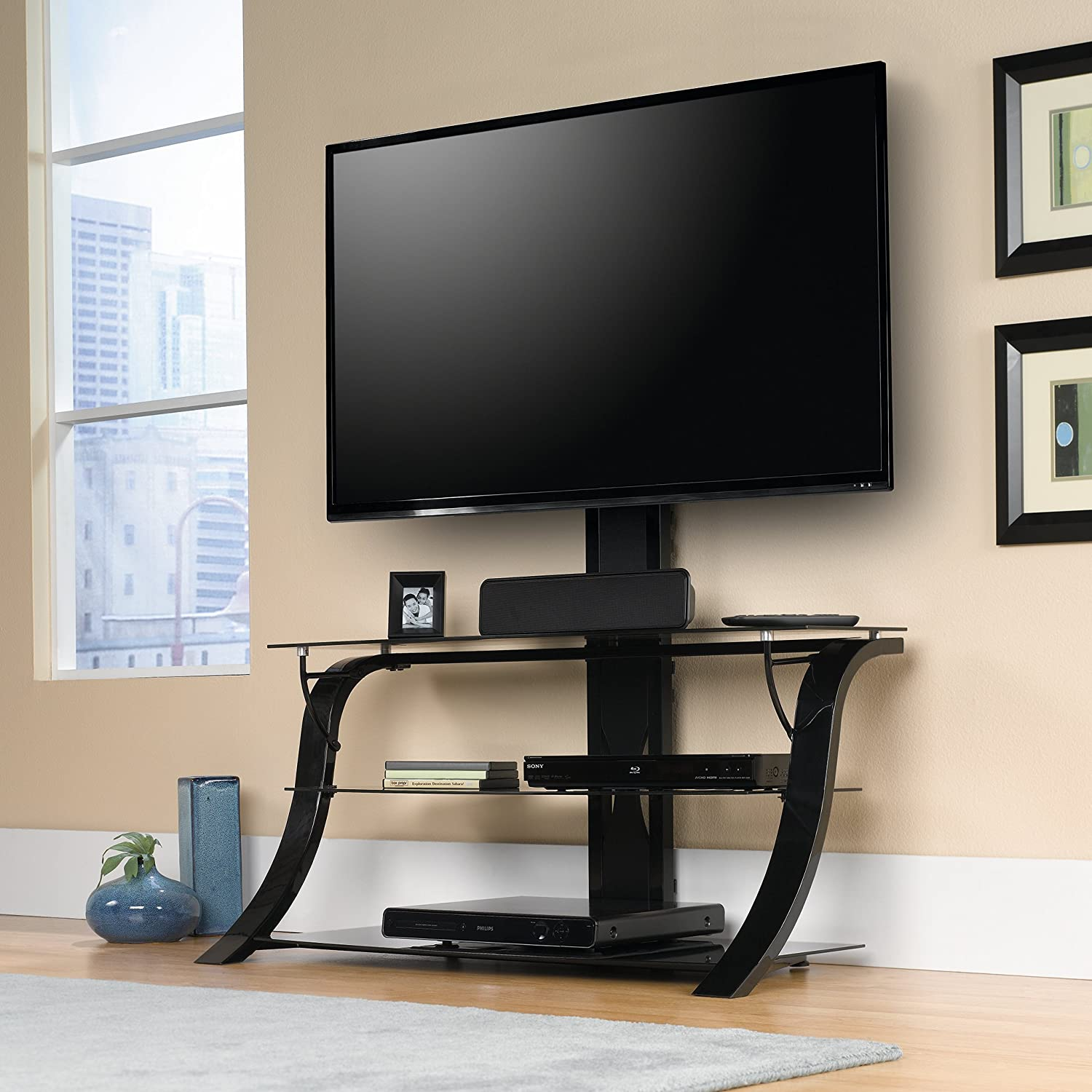 Amazon Com Sauder 413418 Panel Tv Stand With Mount For Tv S Up To