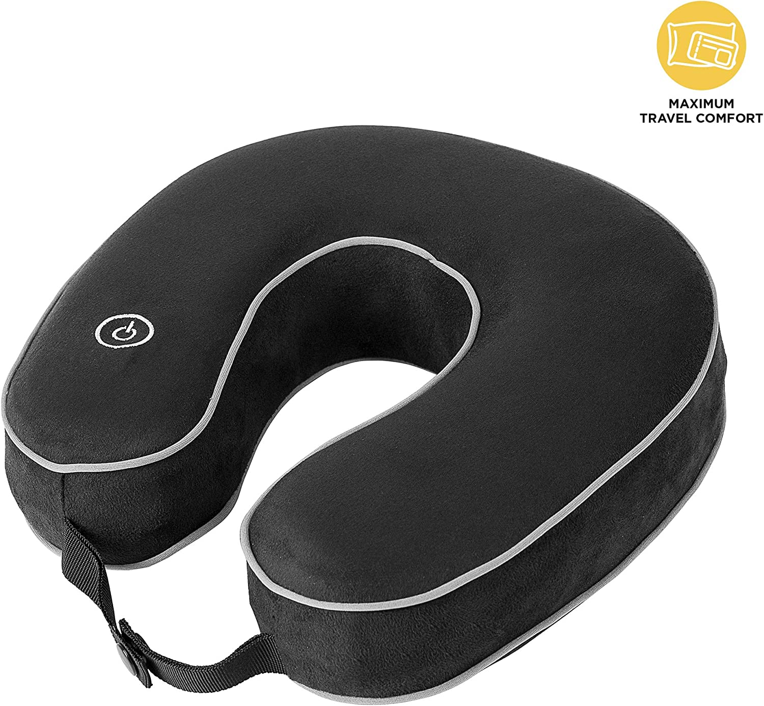 HoMedics Mobile Comfort Vibrating Massage Travel Neck Pillow with Comfortable U Shape Memory Foam Neck Support, Invigorating Fatigue Relief Headrest,