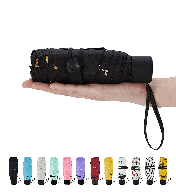 Fidus Mini コンパクト 太陽 雨 旅行用 雨傘 軽量 可搬 アウトドア ゴルフ 95%UV保護 B07CWSMWJ4 C3.31-Leaf Black C3.31-Leaf Black