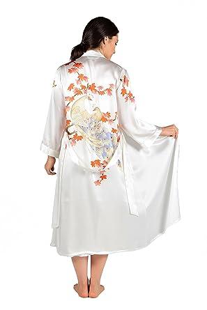 d266e82ade2e TexereSilk Women s Silk Nightgown Robe Set - Lux Sleep Set (Royal Peacocks