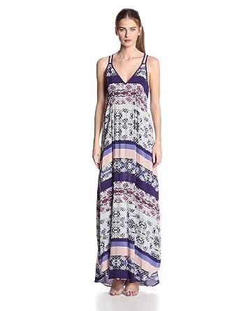 eight sixty Women's Printed Racerback Maxi Dress, Malaysian Stripe, X-Small