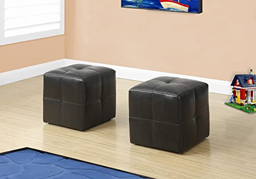 Monarch Specialties 8160 Children's Cube-Shaped Biscuit-Tufted Pouf