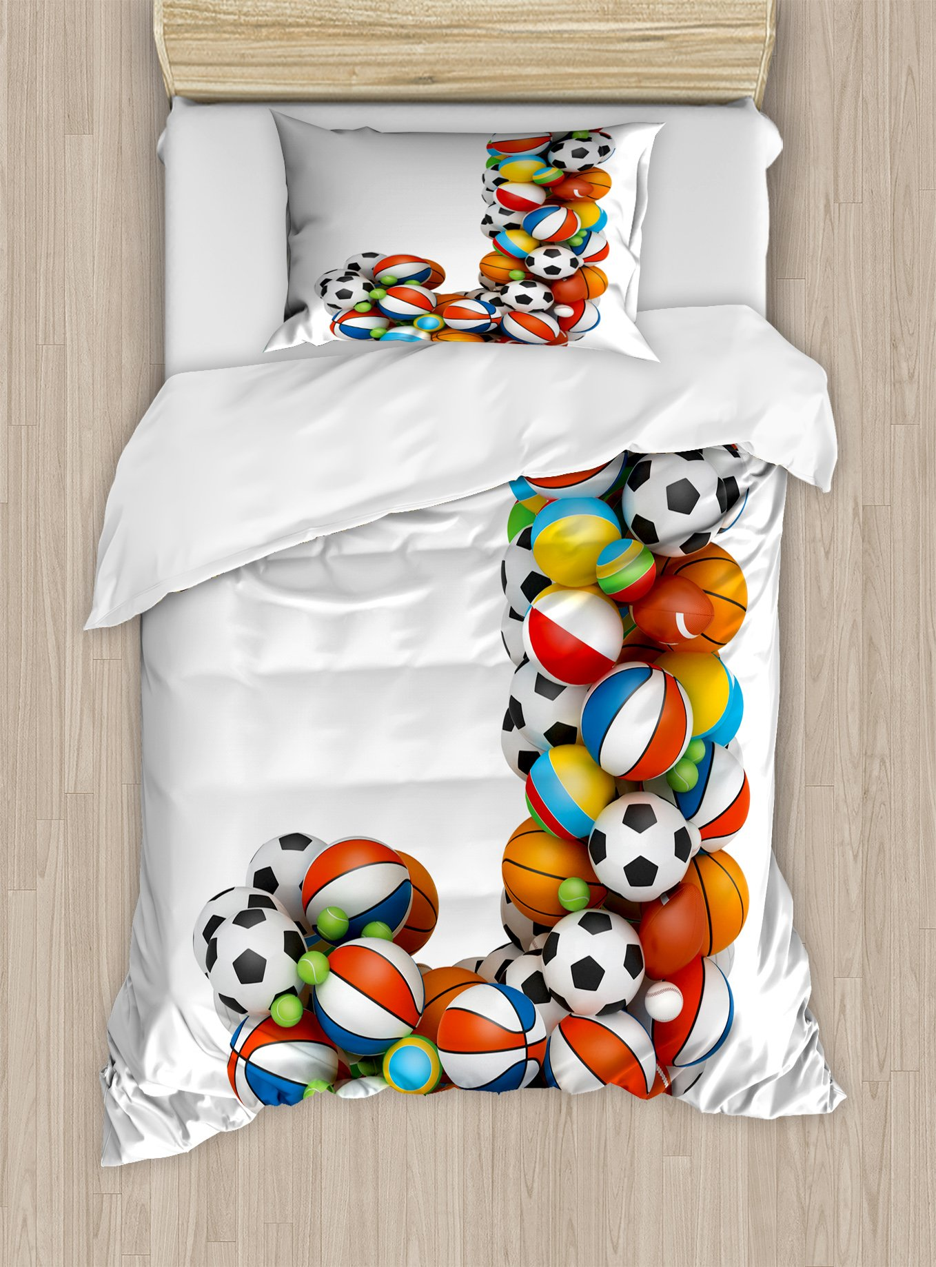 Ambesonne Letter J Duvet Cover Set Twin Size, Letter J Capitalized Sporting Goods Basketball Football Pigskin Fun Games Design, Decorative 2 Piece Bedding Set with 1 Pillow Sham, Multicolor