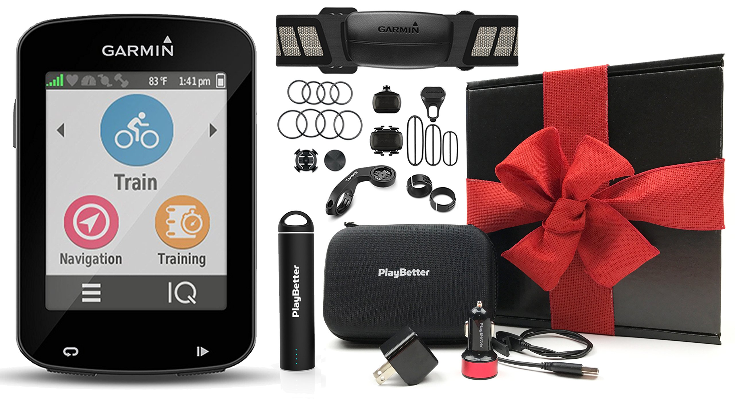 Garmin Edge 820 Cycle Bundle GIFT BOX with Garmin Chest Strap HRM, Cadence & Speed Sensors, PlayBetter Portable USB Charger & Hard Carrying Case, Bike Mounts, USB Cable | Gift Box | GPS Bike Computer