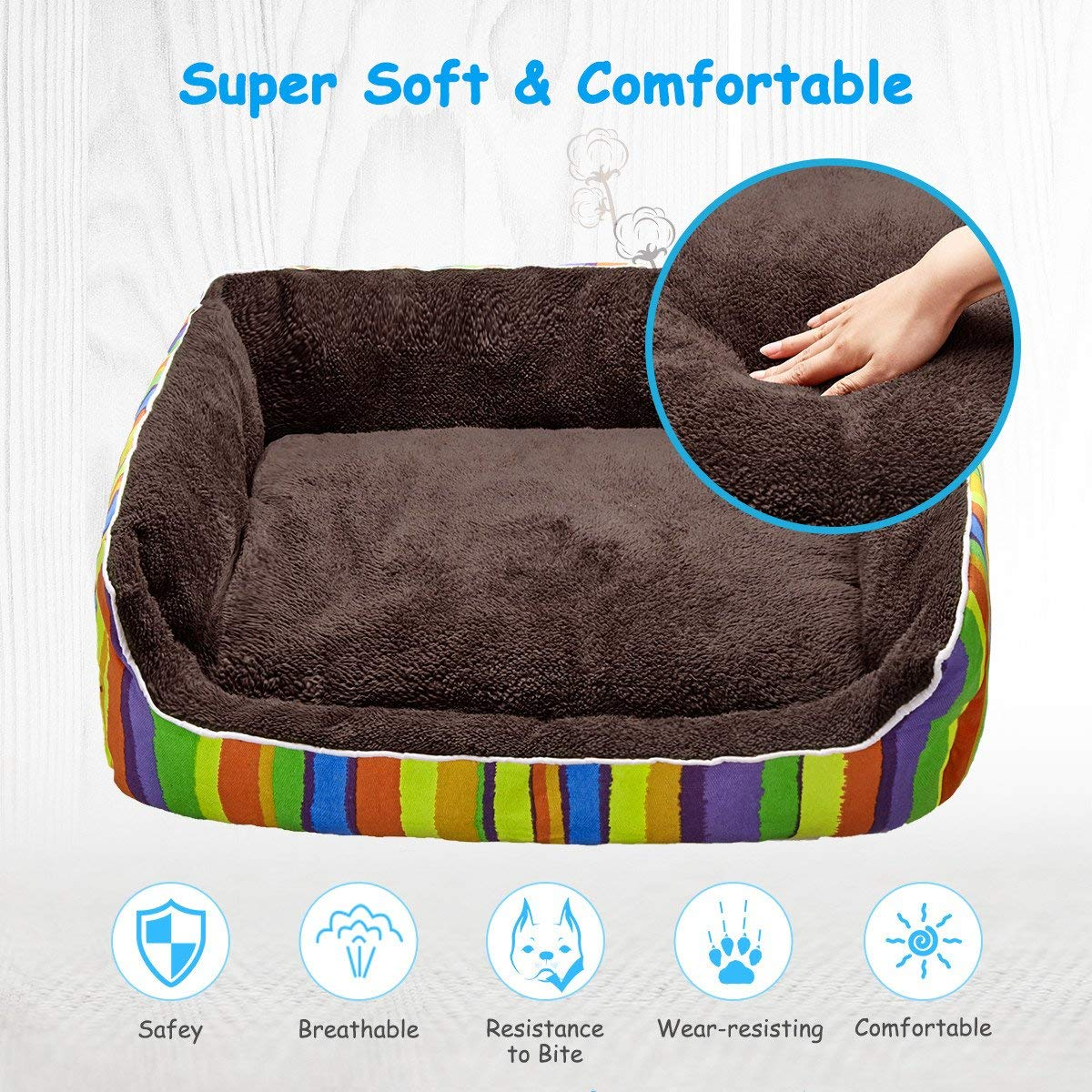 isYoung Pet Bed, (26x22in) Soft Pet Nest, Cat and Dog Cushion Bed- Machine Washable, Water-Resistant Bottom (L)