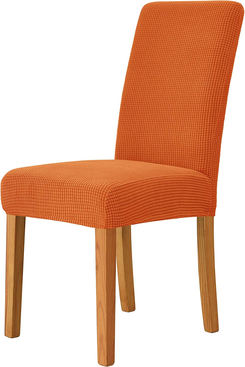 MILARAN Dining Chair Cover, Soft Stretch Jacquard Chair Seat Slipcover for Dining Room, Kitchen, Washable Removable Parson Chair Protector for Home Décor, Banquet, Ceremony—Set of 4, Deep Orange