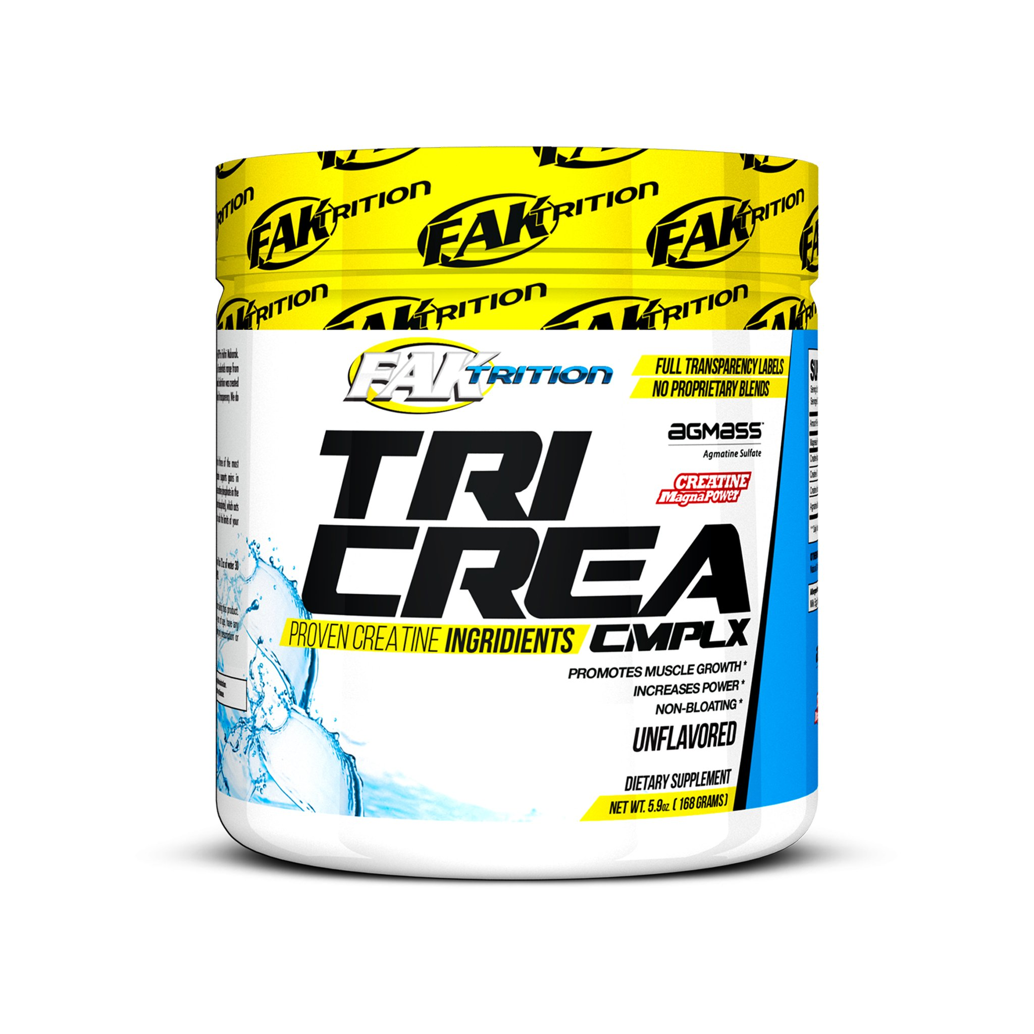 TRI CREATINE - COMPLEX - Unlflavored - Muscle Growth - No Bloating - 168 Grams - Faktrition - Made in the USA