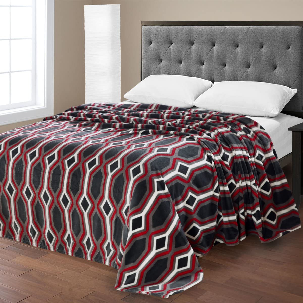 Super Plush Chevron Print Micro Fleece Jacquard Polyester Blanket Queen Beige