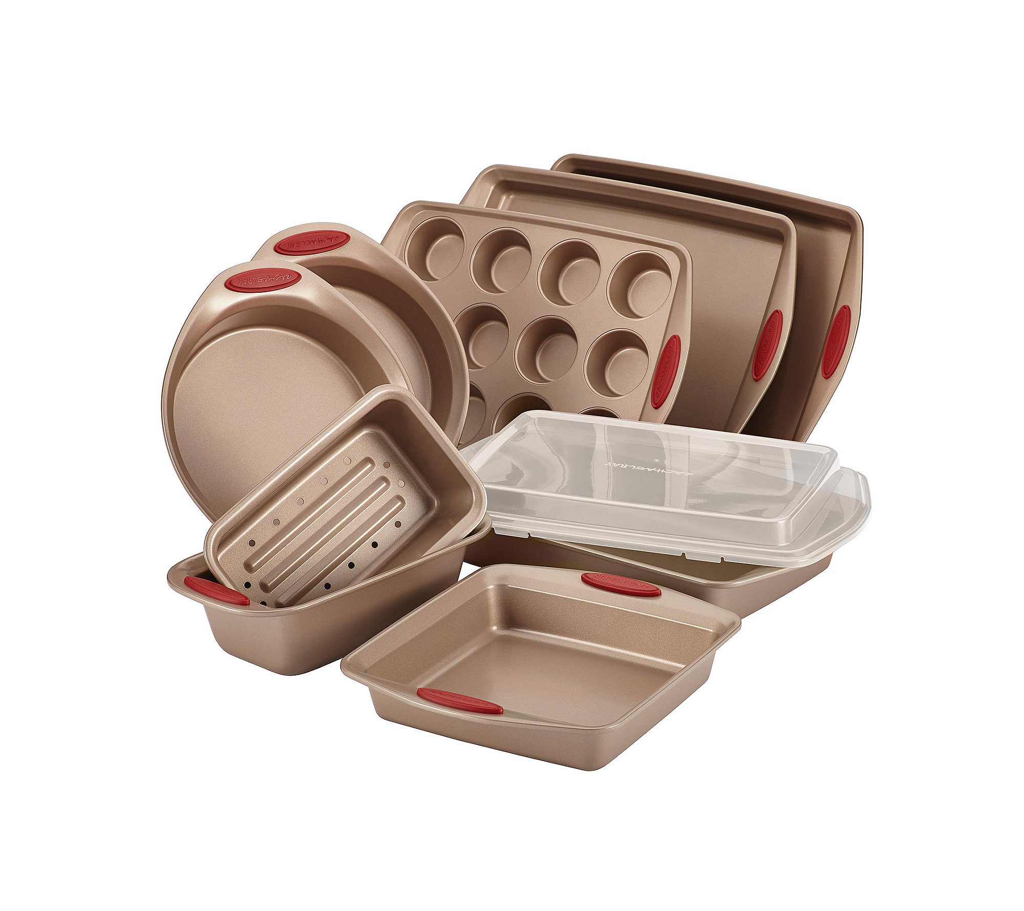 Rachael Ray 10-pc. Brown Cucina Nonstick Bakeware Set with Red Silicone Handles 817nNhEzYGL