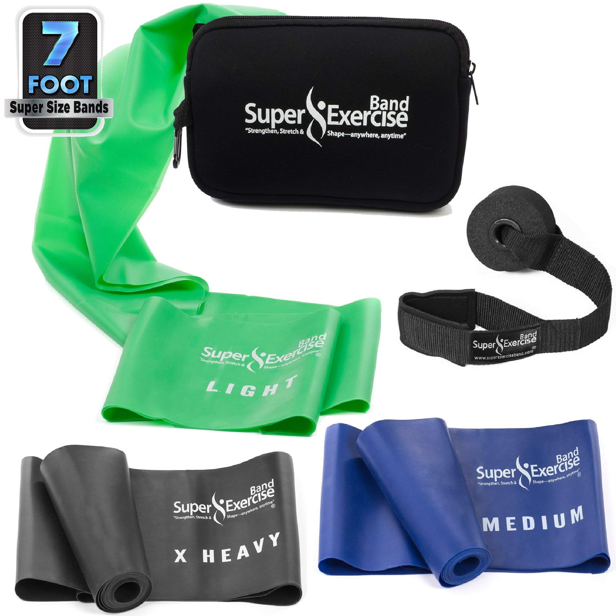 Super Exercise Band 7 ft Resistance Bands Set of 3. Ideal Fitness Gift Kit in Medium Strength Latex Free Bands for Strength Training or Physical Therapy with Door Anchor, Carry Pouch, ebook.