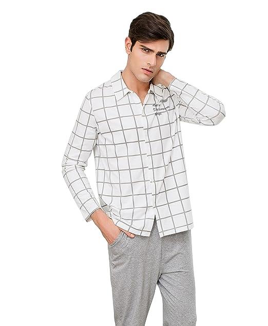 QianXiu Pijamas de algodón para Hombre Ropa de Noche Hombre Camison Hombres Manga Larga Camisones: Amazon.es: Ropa y accesorios