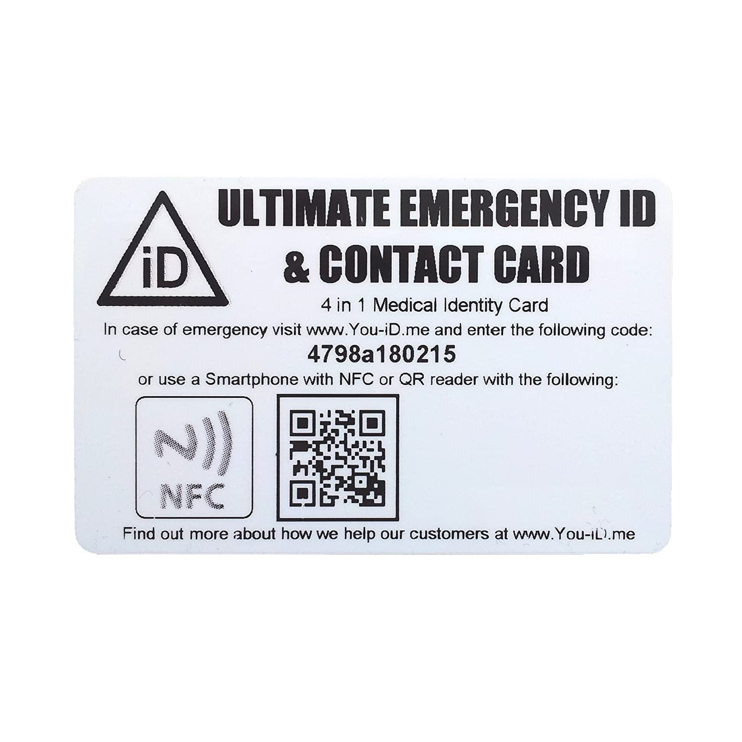 Medical Identity Card Emergency ID Credit Card Size Fits Wallet or ...