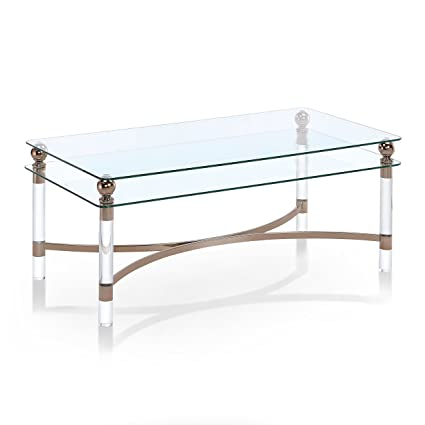 Amazoncom Furniture Of America Angela Contemporary GlassGold - Angela coffee table