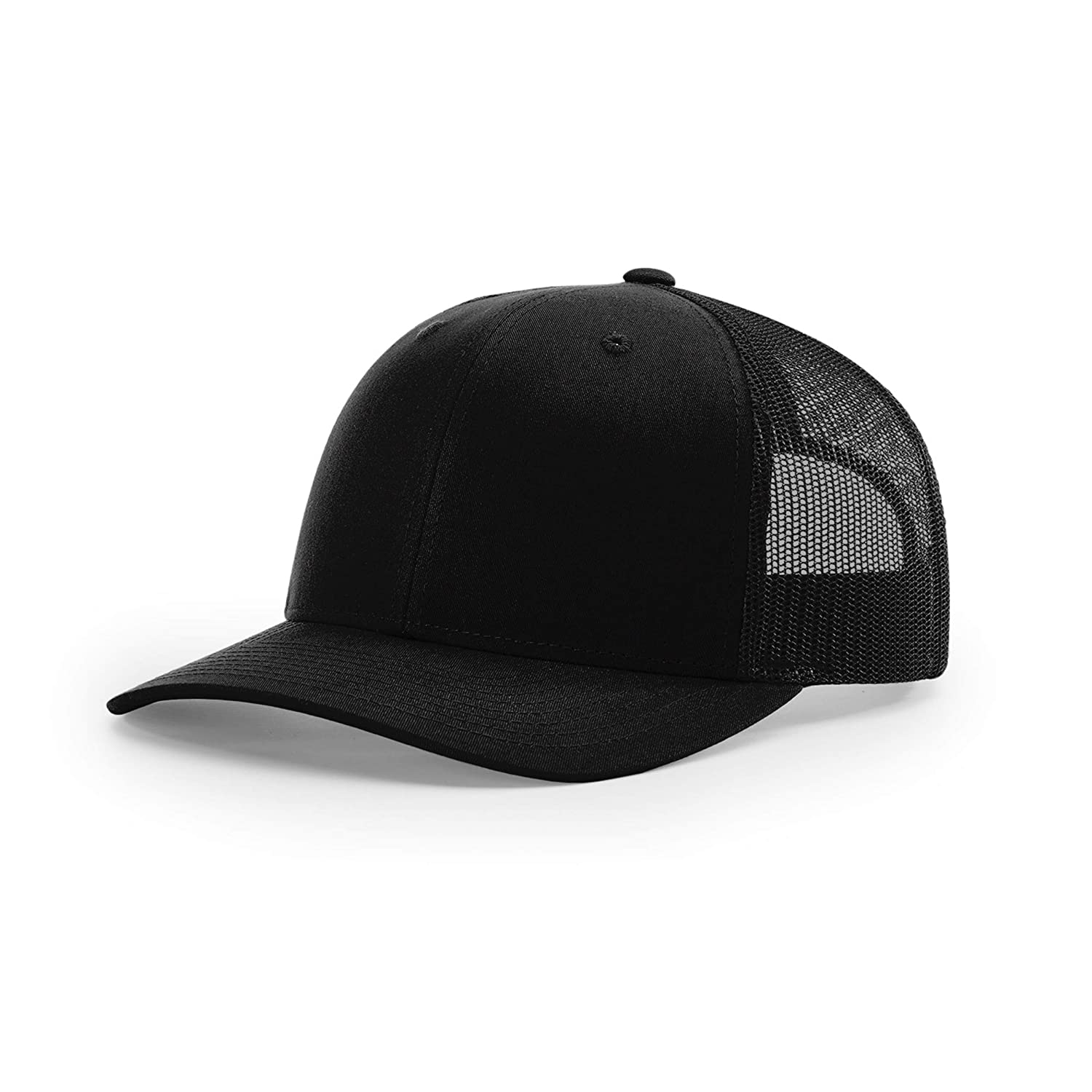Richardson Unisex 112 Trucker Adjustable Snapback Baseball Cap, Solid Black, One Size Fits Most: Beauty