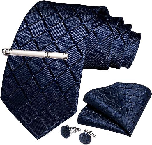 Men/'s Stripe Floral Necktie Pocket Square Cuff Links Tie Clip Set With Box NEW