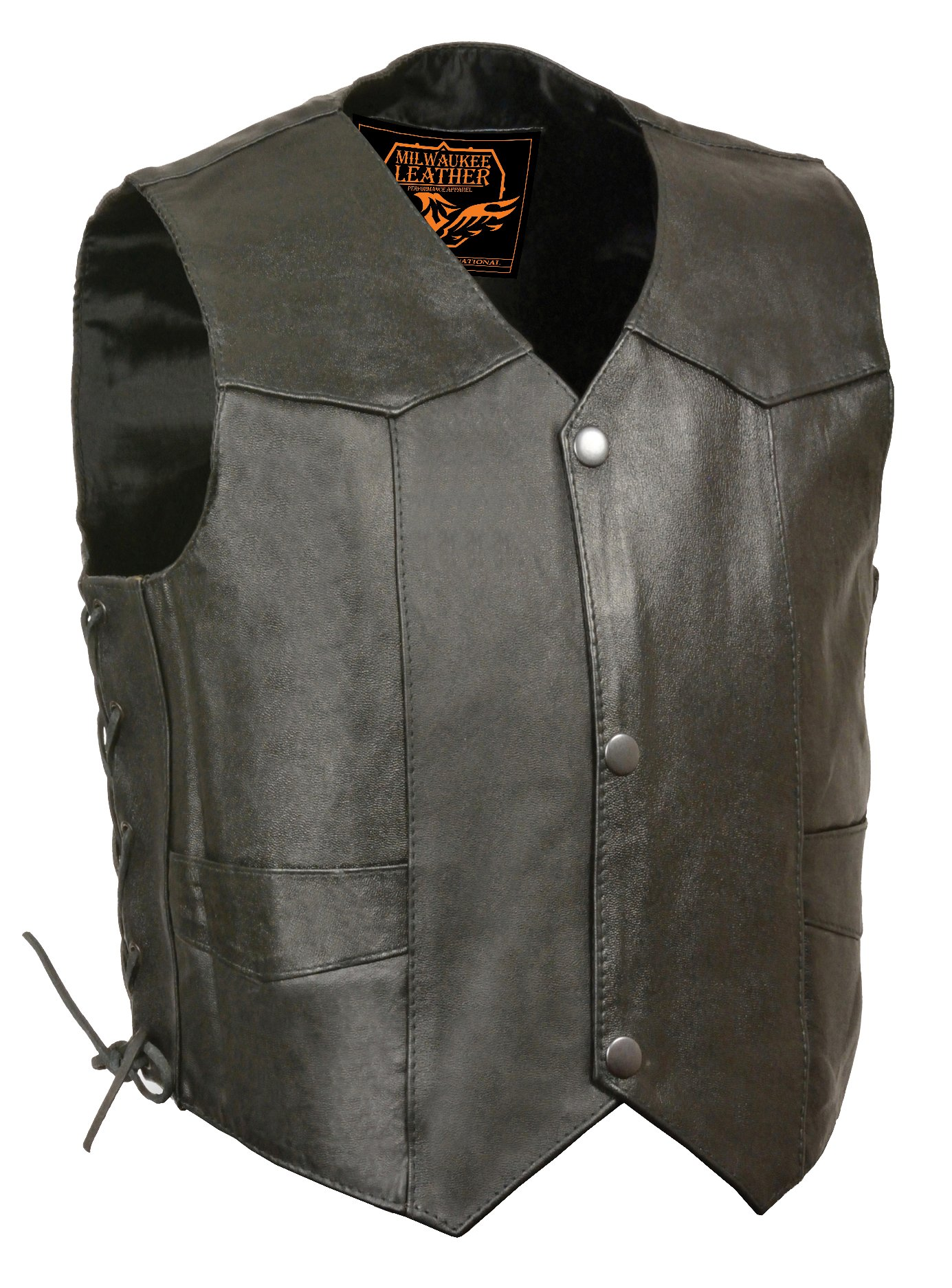 Milwaukee Leather SH2011L-BLK-XS Kids' Vest with Side Laces (Black, X-Small)