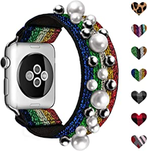 ShunDee Elastic Floral Band Compatible for Apple Watch Bands 38MM 40MM 42MM 44MM Women Girls, Sport Bands with Floral Jewelry Pearl Strap Replacement Compatible with iWatch Series 6 5 4 3 2 1