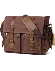 "Lifewit 17.3"" Messenger Bag Vintage Canvas Leather Handbags for Men Military Shoulder Laptop Bags"
