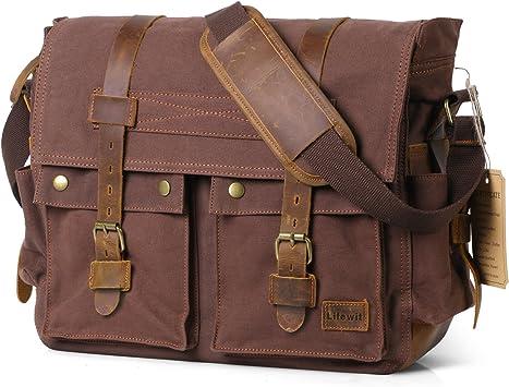 Vintage Men Canvas Leather Pack Shoulder Messenger Bag Briefcase Handbag Laptop