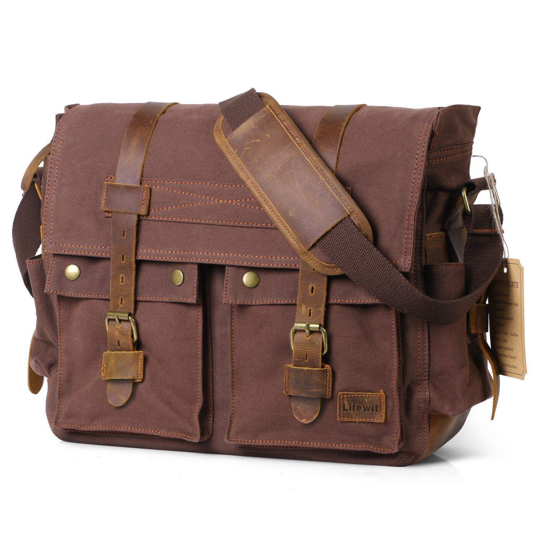 Lifewit 17.3'' Men's Messenger Bag Vintage Canvas Leather Military Shoulder Laptop Bags, Coffee