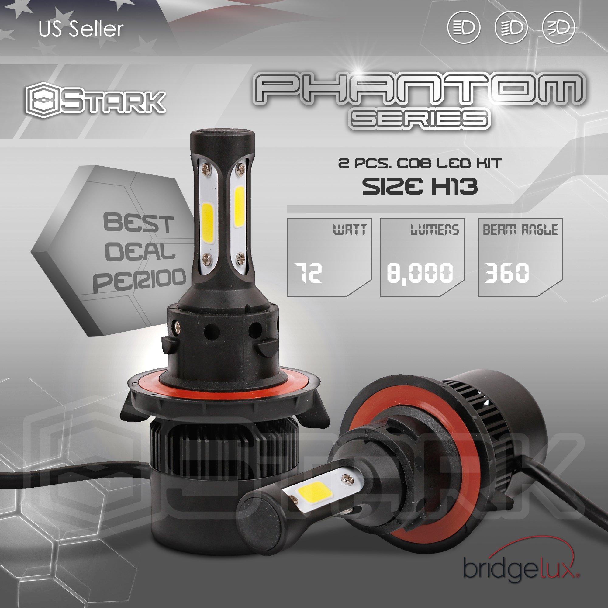 H13 9008 UNV inc 5559076846 Stark 2.0 Luxx ES Series 80W 9000LM All-in-One 360/° LED COB-Flip Chip Conversion Kit Cool White 6000K 6K Upgrade Halogen Bulbs Headlights Dual Hi//Lo