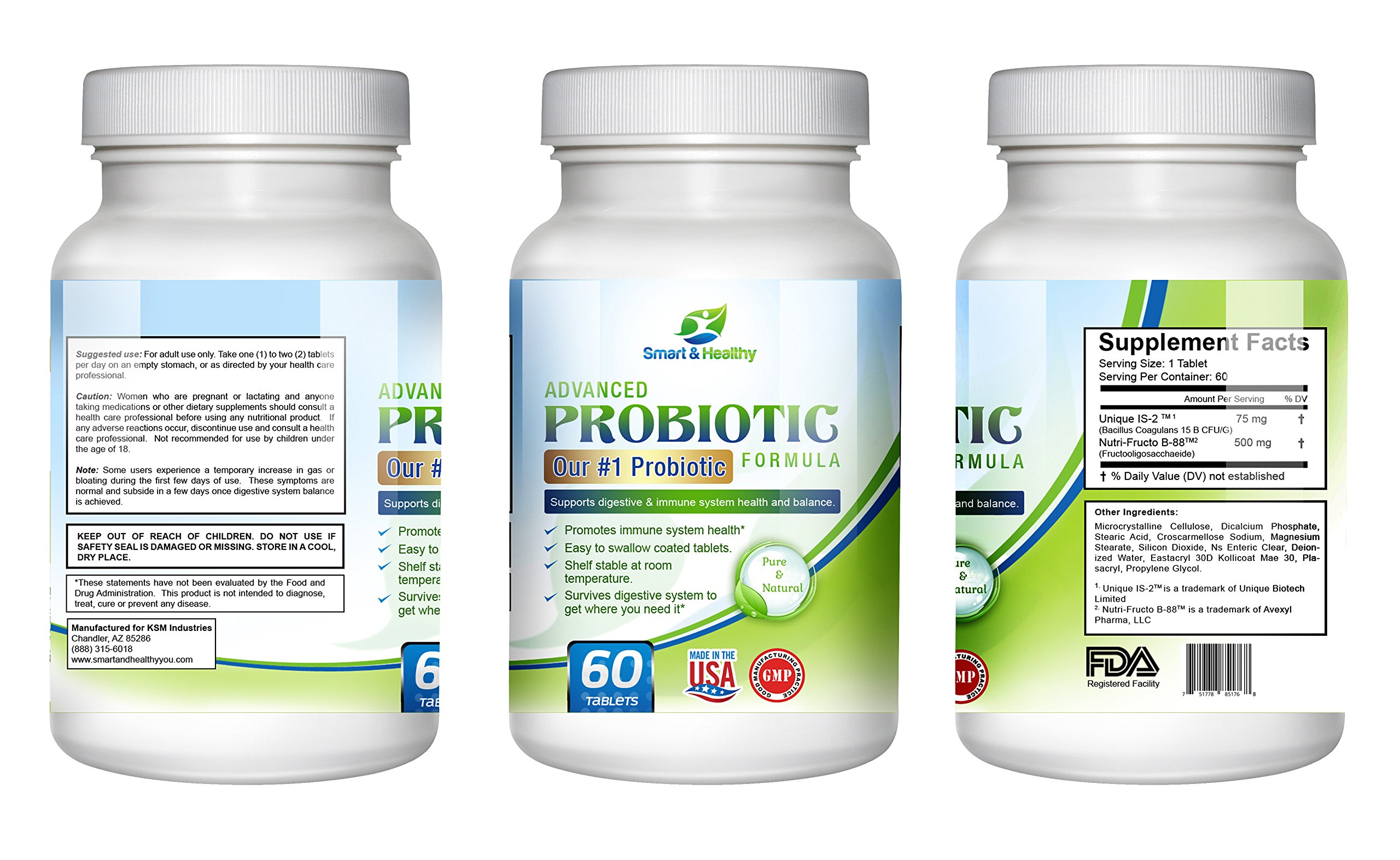 Smart & Healthy Advanced Probiotic. 60 day supply of our best selling formula. Shelf stable. Survives digestive system. Easy to swallow. Patented probiotic and prebiotic in one. by Smart and Healthy (Image #2)