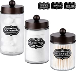 Apothecary Jars 3 Pack (Bronze) - Glass Bathroom Containers with Stainless Steel Lids - Rustic Farmhouse Decor Bathroom Accessories, Vanity Organizer Apothecary Jars for Qtip/Cotton Balls