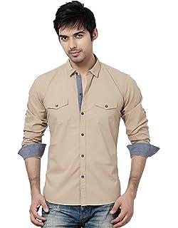 1ac5f87899 LA Seven Beige Color Full Sleeves Slimfit Double Pocket Cotton Casual Shirt
