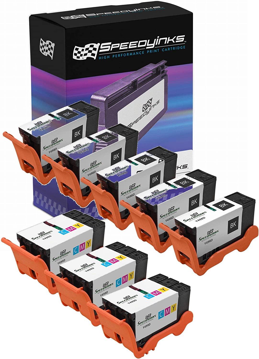 Speedy Inks Compatible Ink Cartridge Replacement for Dell Y499D and Y498D |Series 21 (5 Black and 3 Color, 8-Pack)