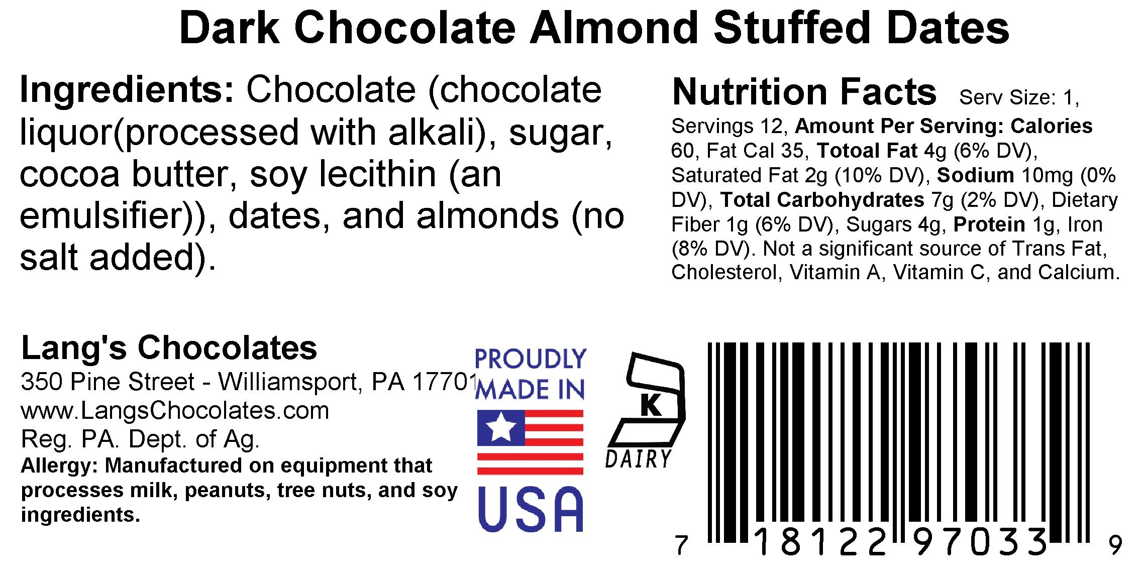 Two Boxes of 12pc Almond Stuffed Dates in Dark Chocolate