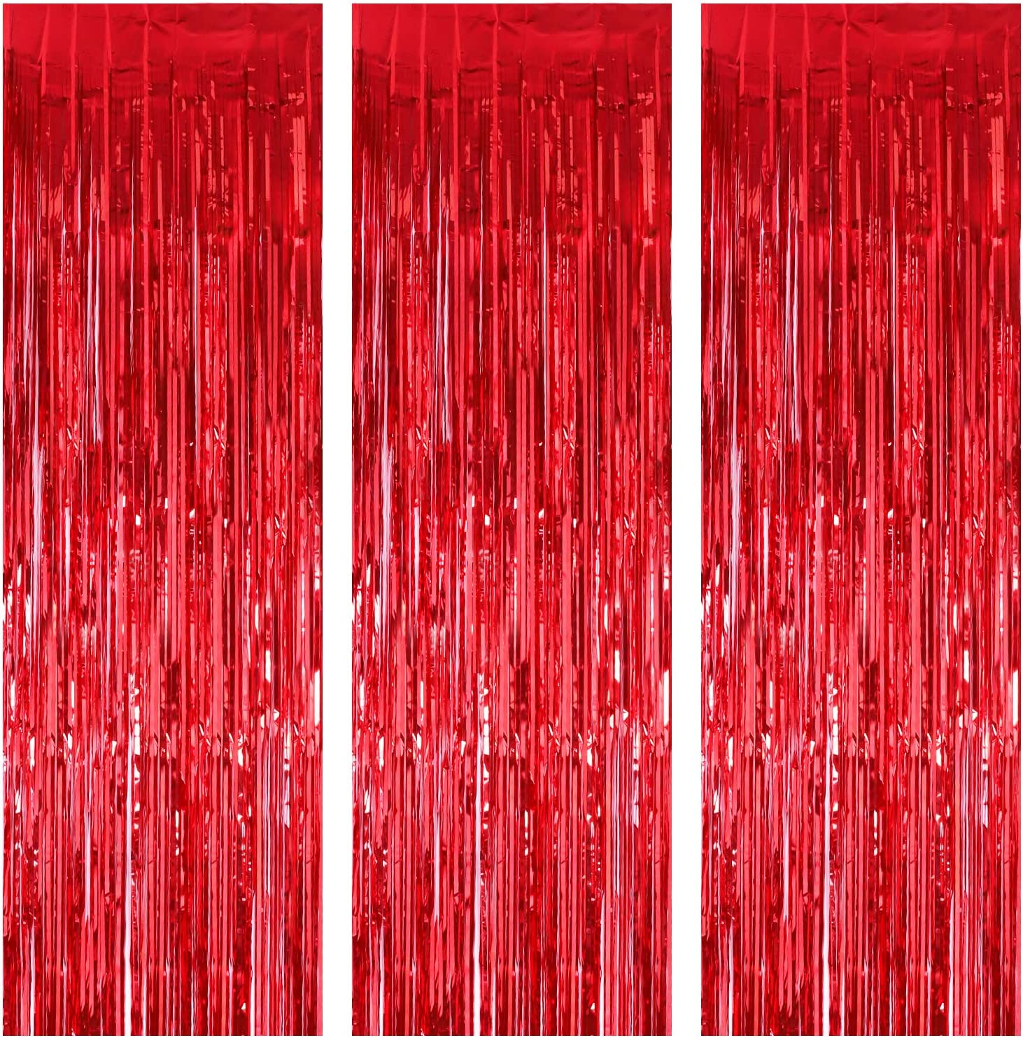 3 Pack Foil Curtains Metallic Foil Fringe Curtain for Birthday Party Photo Backdrop Wedding Event Decor (Red)