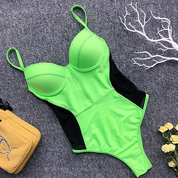 ddd3f544e02 Amazon.com: One Piece Swimsuits for Women Monokini Tummy Control Swimwear  Patchwork V Neck Push-Up Padded Bra Bathing Suits: Musical Instruments